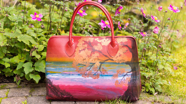 """Encounter With Him"" hand painted handbag by Rebecca Siccama"