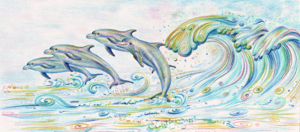 Dazzling Dolphins and waves