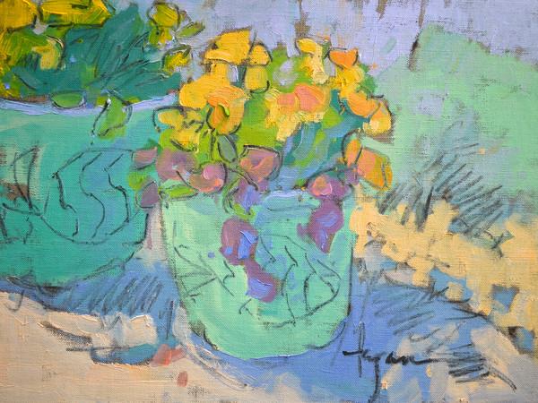 Pot of Gold - Original Mixed Media Marigold Painting by Dorothy Fagan