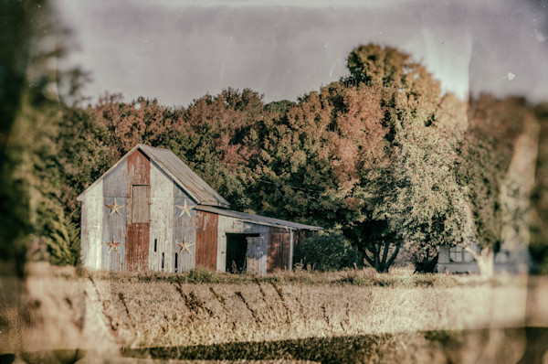 Patriotic Barn in Field Glass Plate Limited Edition Signed Landscape Photograph by Melissa Fague