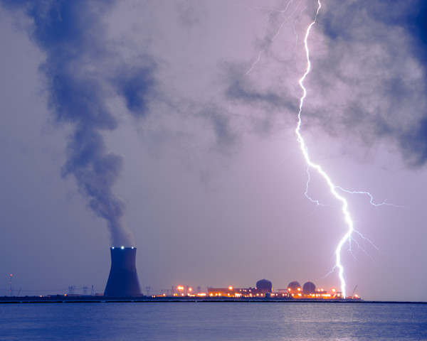 Lightning and Salem Power Plant Limited Edition Signed Fine Art Night Landscape Photograph by Melissa Fague