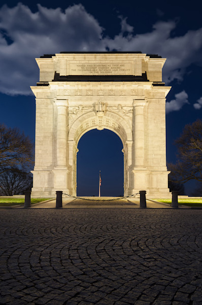 Night Photo at Valley Forge Arch Limited Edition Signed Fine Art Night Landscape Photograph by Melissa Fague