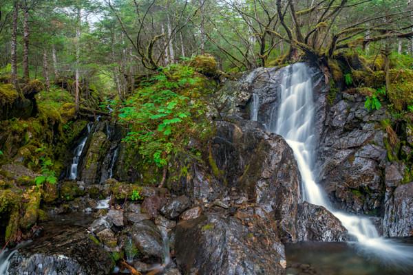 Eyak Twin falls Fine Art Waterfall Landscape Alaska
