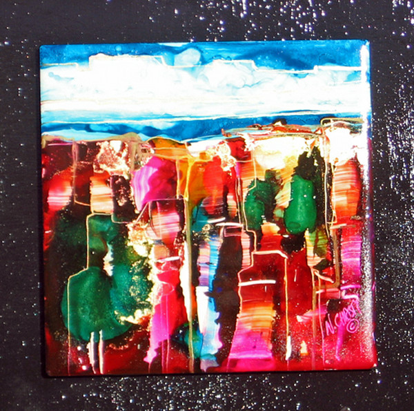 Original hand-painted ceramic tile in alcohol inks.  Abstract contemporary bright patterned mounted on black wood panel