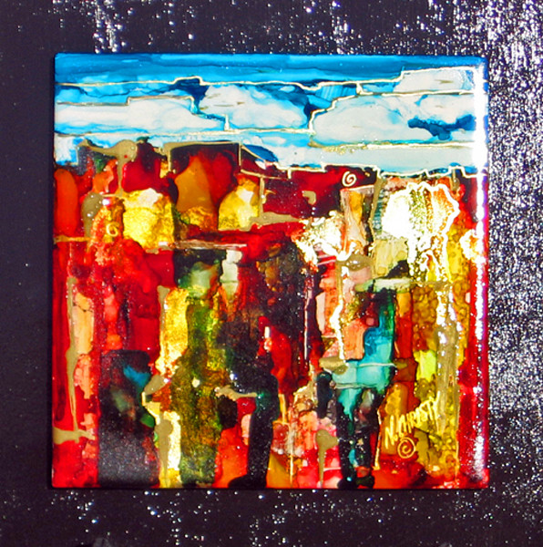 Original abstract landscape, contemporary, hand-painted ceramic tile mounted on black wood panel, wired for hanging