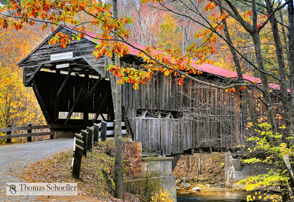 Covered bridge scenic landscapes of New Hampshire art prints for sale
