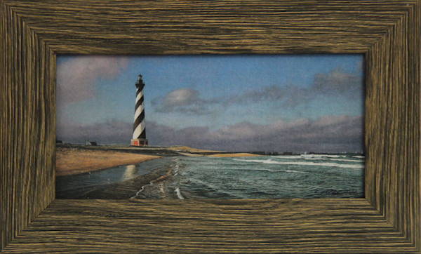 Hatteras Calm Enhanced Mini Canvas Transfer Art Print Framed in Brown Rustic Poly for Sale