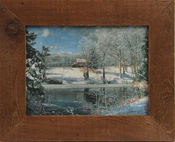 Whitakers Pond Mini Enhanced Canvas Transfer Art Print Rustic Cedar Framed for Sale
