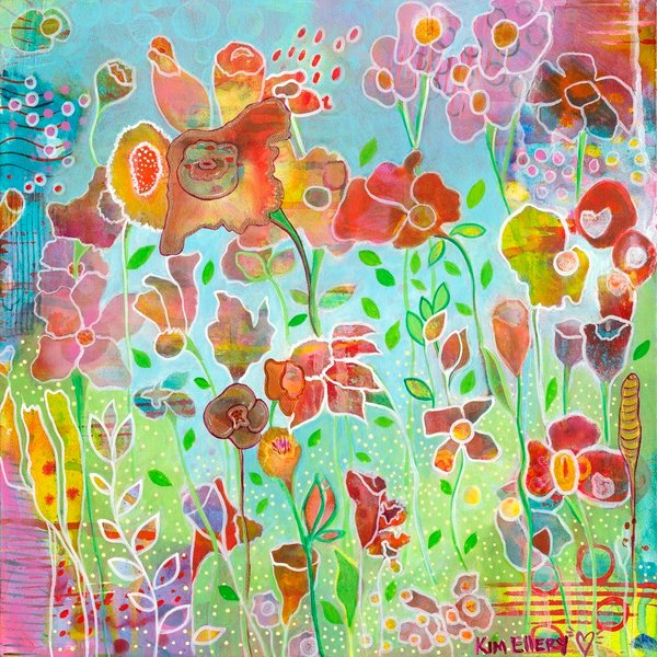 Wonderfully colorful and full of fantastic floral shapes and patterns, Soft Voices, an original acrylic painting by artist Kim Ellery, evokes feelings of delight.