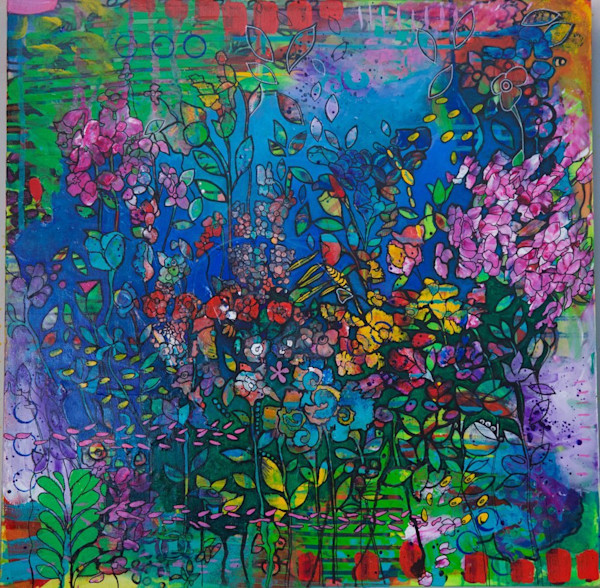 This stunning abstract original painting by artist Kim Ellery has deep, beautiful hues of blue, indigo, violet and green broken up with small areas of warm reds and yellows.