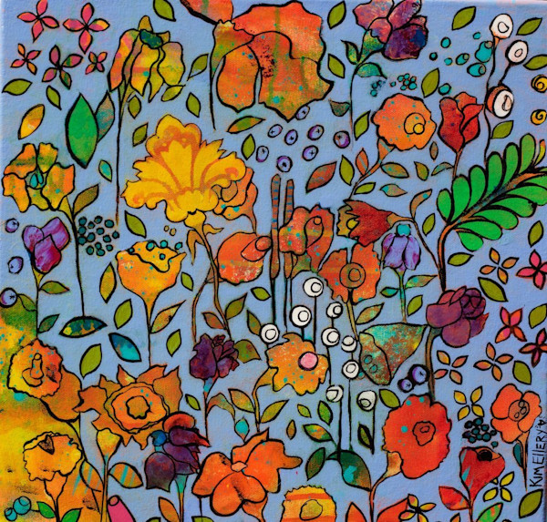This wonderful painting by artist Kim Ellery is filled with great imagery. Flowers, fruit and other flora mix together in a fantastic pattern.