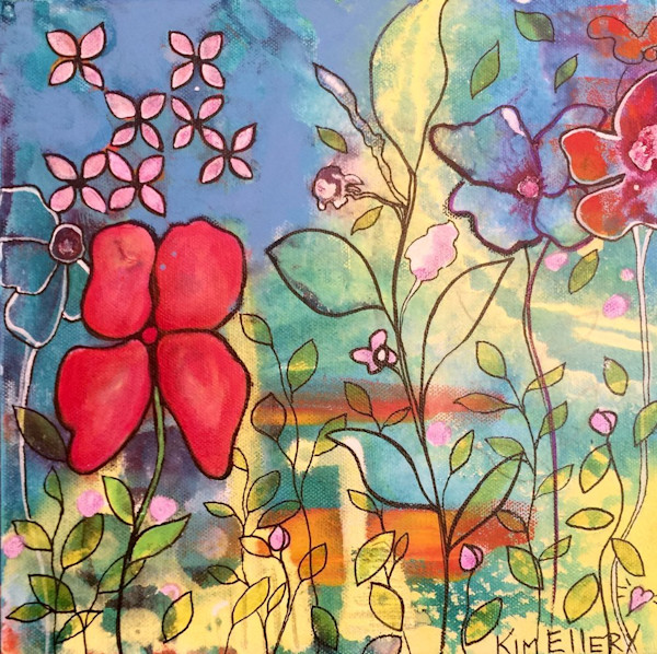 Set agains a multi-hued background, bright pink and blue flowers reach toward the sky in this fun little original acrylic painting by artist Kim Ellery.