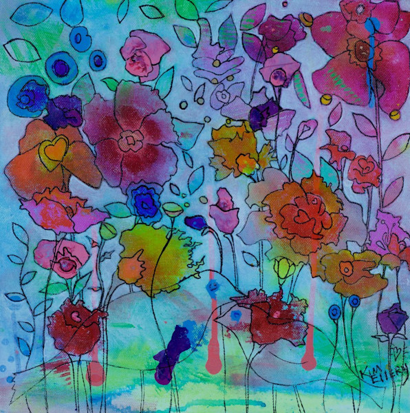 The flowers in this original painting by artist Kim Ellery seem as if they are emerging from the blue background, and its easy to almost miss the two birds on the lower right.