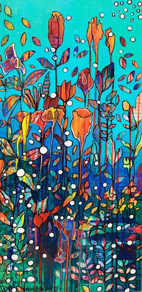 """Another in her series """"Blended Worlds,"""" Swimming by artist Kim Ellery features the coming together of gardens above the sea and those below it."""