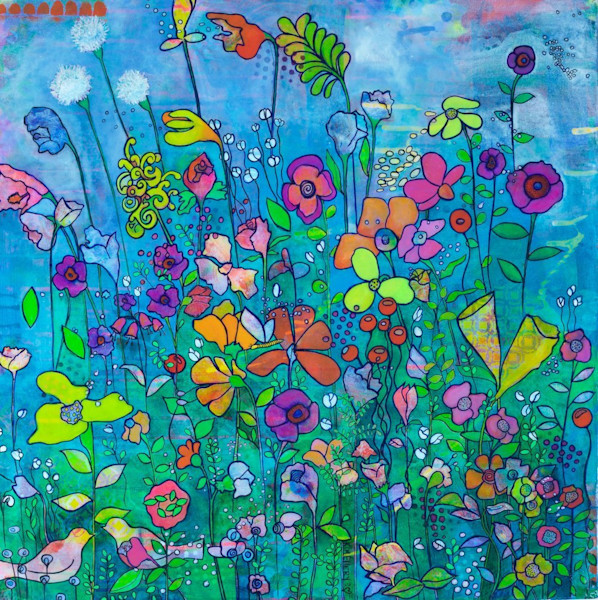 Bursts of color, combined with floral and nature designs, are combined to create this beautiful canvas by artist Kim Ellery.