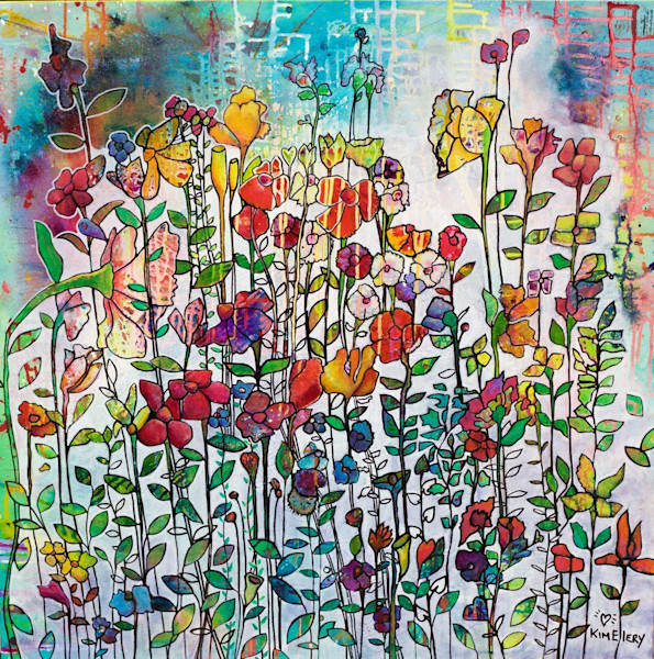 A myriad of beautiful, fun and whimsical flowers dance across a colorful background in this painting by Kim Ellery.