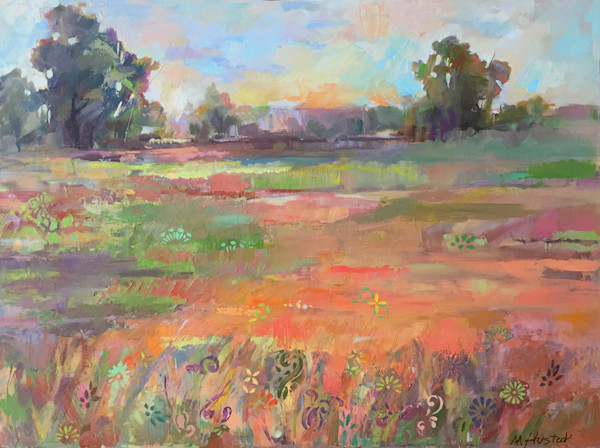 A myriad of beautiful color, layered brushstokes, and painted designs combine to create a breath-taking landscape in this oil painting by Marty Husted.