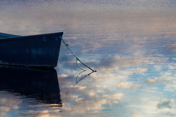Fine Art Photograph of Boat with Cloud Refelection