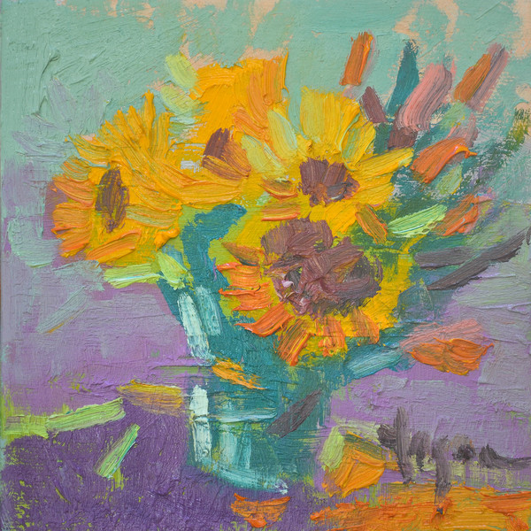 Cheerful Yellow Sunflowers Fine Art Print on Canvas or Watercolor Paper