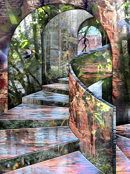 In this fantastic composition by digital artist Leslie Kell, a beautiful, ethereal staircase, shimmering with light and reflections of alternate landscapes, sunlight and sky.