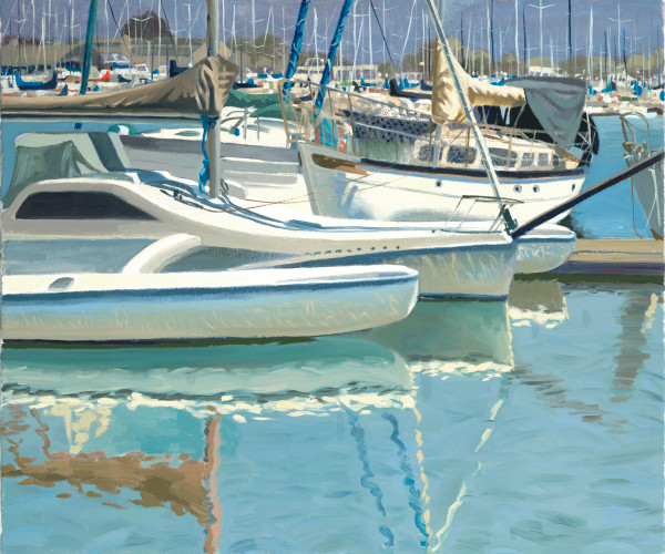 sailboats, water, Berkeley, marina, painting, art