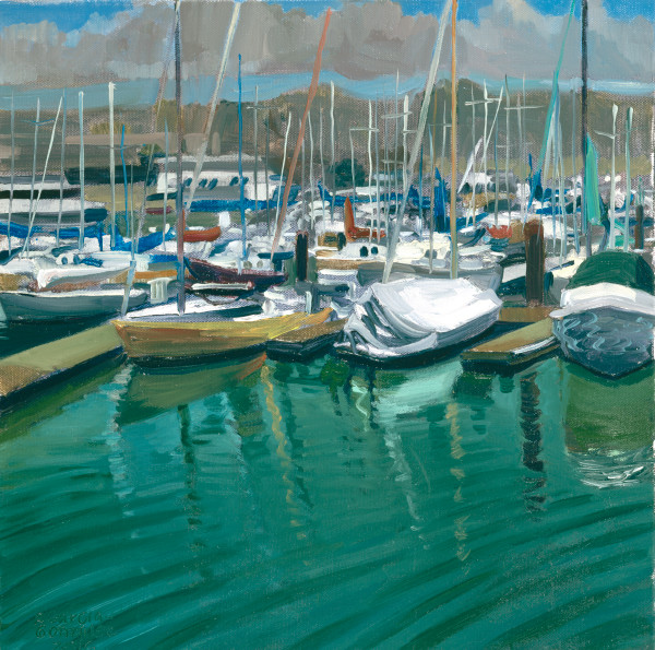 Berkeley Marina, art, painting, boats, water