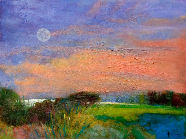 Summer Moon | Colorful Sunset with Moon Landscape Fine Art Print by Dorothy Fagan