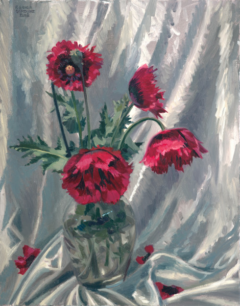 Art, painting, still life, flowers, poppies