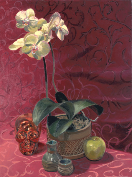Art, painting, still life, orchid, flowers