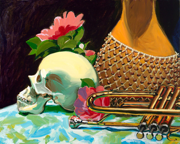 Art, still life, Latino, painting, skull