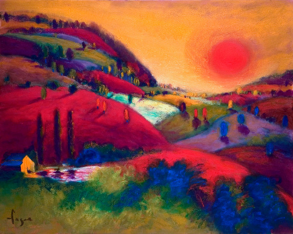 Sunset in the Valley of Love | Dreamy Red Mountain Landscape Fine Art Print