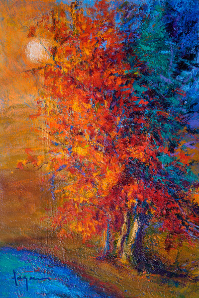 Dancing by the  River | Red Autumn Trees Fine Art Print