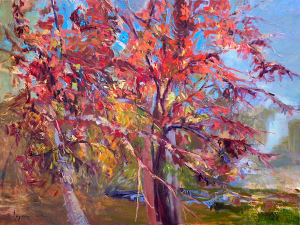 Red Beauties | Autumn Trees Painting Canvas Prints