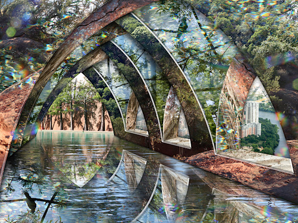 A still pool of water under an open arched building reflect a bird in a tree in Into the Silent Water by digital artist Leslie Kell. The solidness of the architecture is only an illusion, as it is impossible to tell where it begins and ends.