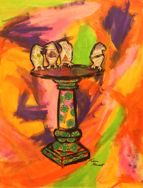 watercooler-gossip, mixed media of birds at a bird bath, Fine Art and Paintings for Sale by Teena Stewart of Serendipitini Studio