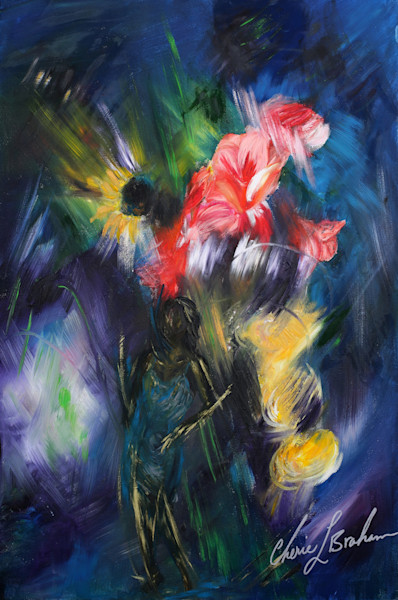 Dancer Painting, Flower Canvas Painting - Artistic View