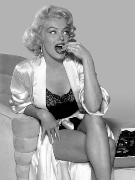 Marilyn Monroe, bon bons. Black & white version.