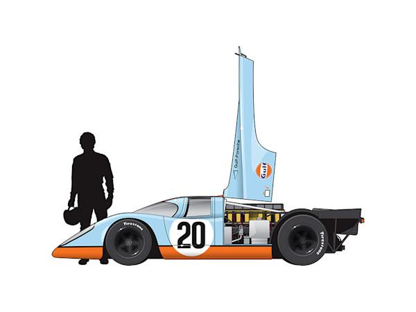 Steve McQueen, Porsche 917, Le Mans movie 1971, by Ricardo Santos, Limited Edition Print