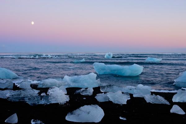 Moon Over Frozen Diamonds, Iceland Art Print