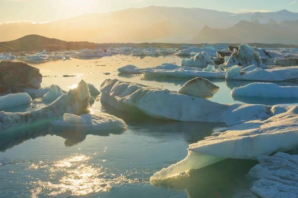Sunset Over Jokulsarlon Glacier Lagoon Photo art print