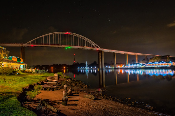 Chesapeake City at Night Fine Art Photograph by Robert Lott