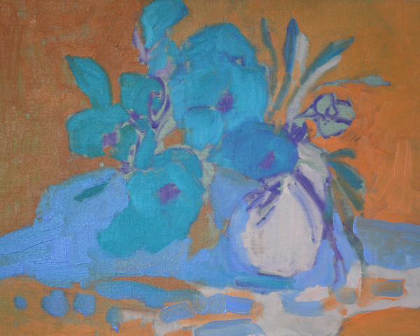 CreativSOUP Complimentary Colors Painting Art Lesson ~ 'Blooming' Ochre Blues