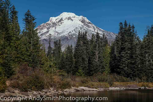 fine art photograph of Mt Hood from Mirror Lake with sjoreline