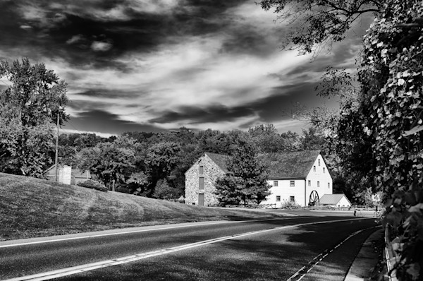 Greenbank Mill - Summer Black and White Limited Edition Signed Fine Art Landscape Photograph by Melissa Fague