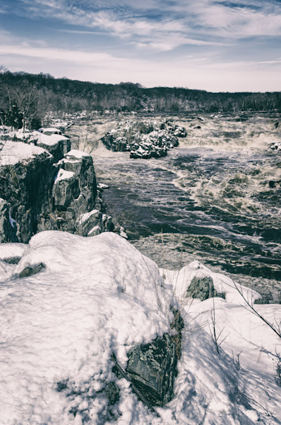 Great Falls Vintage Black and White Limited Edition Signed Fine Art Landscape Photograph by Melissa Fague