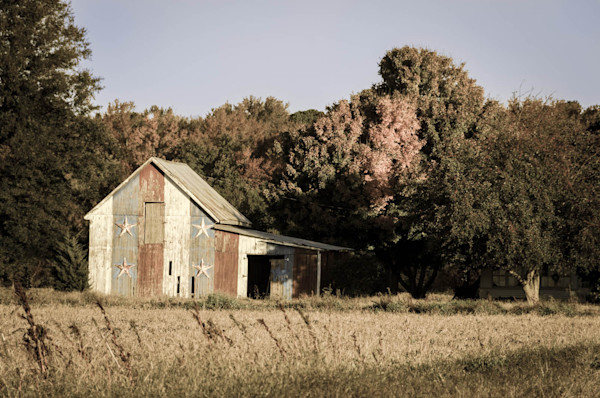 Patriotic Barn in Field Aged Limited Edition Signed Fine Art Landscape Photograph by Melissa Fague