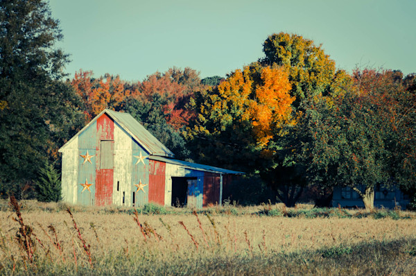 Patriotic Barn in Field Cross Processed Limited Edition Signed Fine Art Landscape Photograph by Melissa Fague