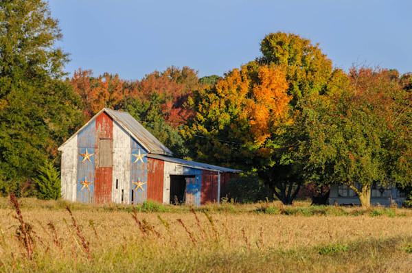 Patriotic Barn in Field Traditional Color Limited Edition Signed Fine Art Landscape Photograph by Melissa Fague