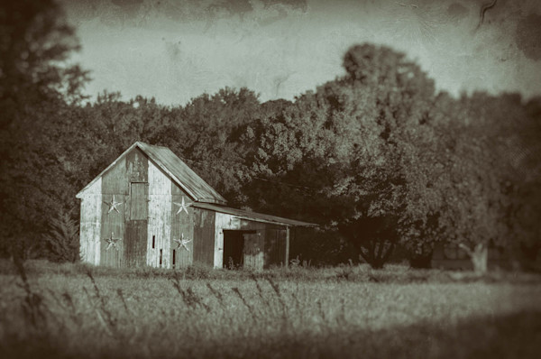 Patriotic Barn in Field Vintage Black and White Limited Edition Signed Fine Art Landscape Photograph by Melissa Fague