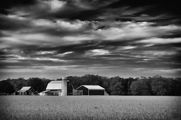 Red Barn in Golden Field Black and White Limited Edition Signed Fine Art Landscape Photograph by Melissa Fague